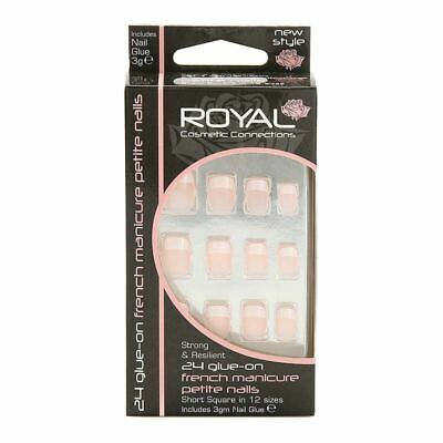 Royal French Manicure Petite False Nails Tips with Glue Short Square - Pack 24