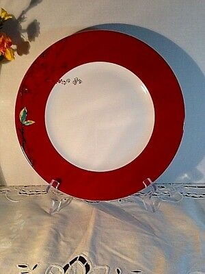 """Lenox Simply Fine Bone China Chirp Scarlet Floral 10 3/4"""" Dinner Plate New USA"""