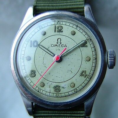 MEN'S WWII PERIOD military OMEGA good condition STEEL WRISTWATCH c1941