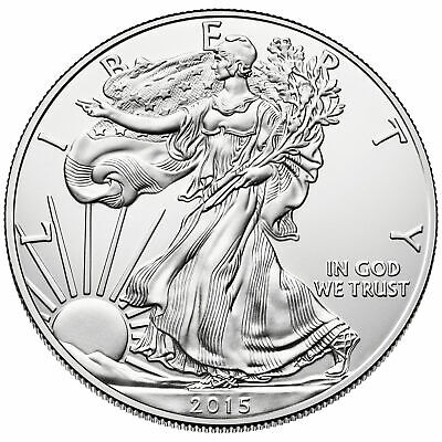 2015 American Silver Eagle 1oz Silver Coin BU, Plus Air-Tite Plastic Coin Holder