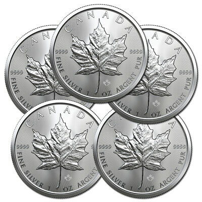 x5 2019 MAPLE LEAF $5 CANADA ONCE ARGENT PUR OUNCE OZ SILVER 5 DOLLARS LOT