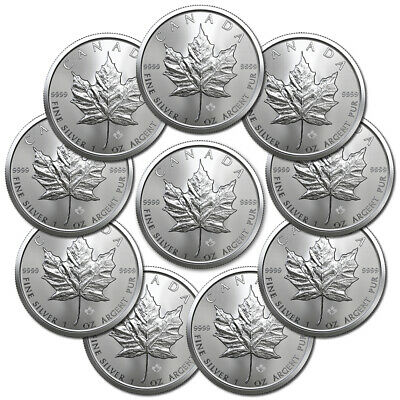 x10 2019 MAPLE LEAF $5 CANADA ONCE ARGENT PUR OUNCE OZ SILVER 5 DOLLARS LOT