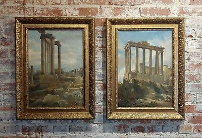 Wilhelm Kendler -Roman Ruins-Pair of 19th century Capriccios Oil Paintings