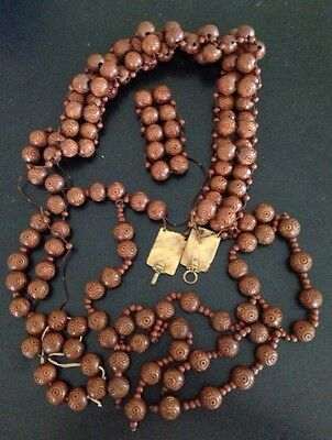 Antique Chinese Asian Wood Carved Prayer Bead Necklace Vintage Ornate Closure