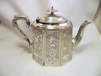 Large Victorian Aesthetic Silver Plated Tea Pot Children Of Aaron Munday 1882