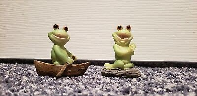 Two Tiny Frog Figurines Frog on a Rock and Frog in a Boat