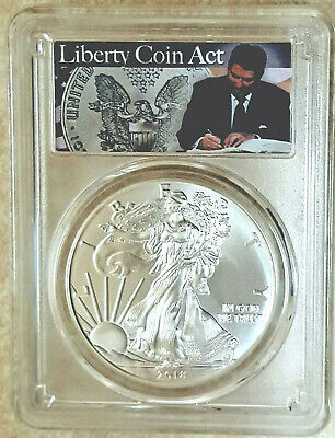 2018 1oz Silver American Eagle PCGS MS69 Ronald Reagan FDOI FREE + Lowest Cost!!