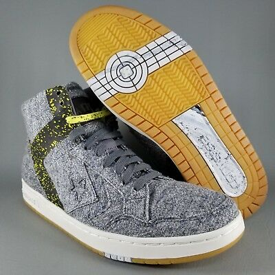 6a9fdec66f0c Converse Cons Weapon Mid Skate Shoes Mens Size 10 Charcoal Gray Yellow Gum  White