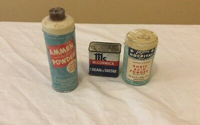 Vintage Household Tins/Cans:cream Of Tartar,Ammen Powder, Boric Acid Powder