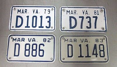 Vintage Virginia Motorcycle Dealer License Plates Lot of 4 1979,81,82 and 83