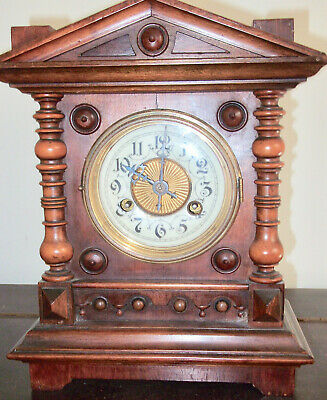 Antique Junghans Walnut Striking Mantel Clock