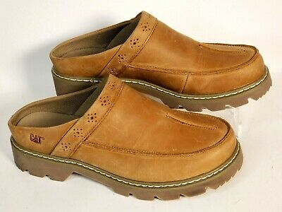 a6915b89cfea Womens CAT Caterpillar Dry Sand Slip On Tan Leather Clogs Shoes Size 10