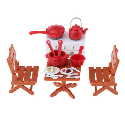 Dollhouse Miniature Plastic Picnic Table with Chairs, Cookware & Stove Set