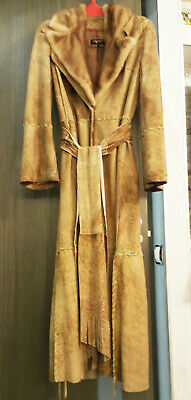 Via Veneto Italy long coat leather suede mink fur collar size L
