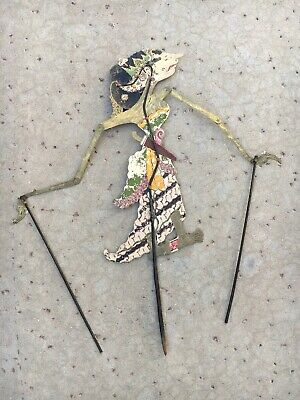 Original Leather Indonesian Shadow Puppet Woman In Dress and Dagger Wayang Folk