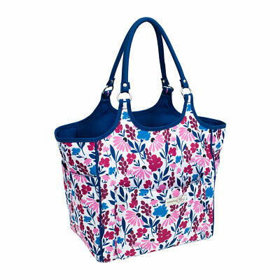 Deluxe Yarn Tote Blue/Pink Floral 33cm x 26cm x 36cm Everything Mary EVM10239-3