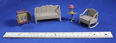 Vintage Dollhouse Tootsietoy Miniature Furniture Couch Radio Chair Lamp Table