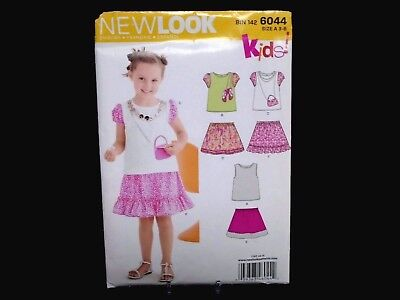 Childs Skirts and Top Size A 3-4-5-6-7-8 New Look Sewing Pattern 6044
