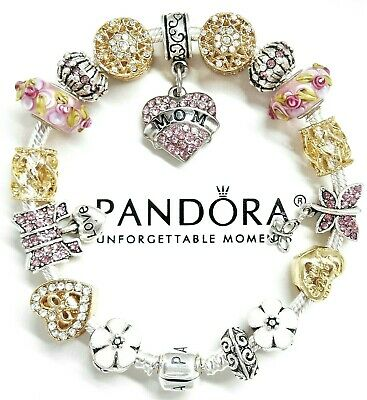 Authentic Pandora Silver Bracelet GOLD & PINK MOM MOTHER HEART European Charms.