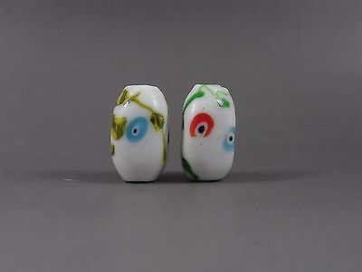2 Vintage Faceted White Eyes Chinese Peking Glass Trade BEADs  #04
