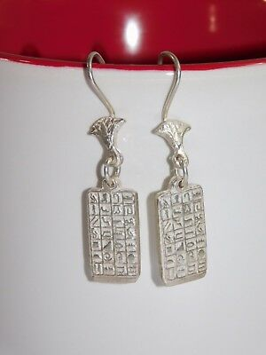 Egyptian Solid 925 Silver Stamped Handcraft Hieroglyphics French Wire Earrings
