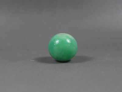 An Antique Green Jade Chinese Peking Glass Trade Bead from Court Beads