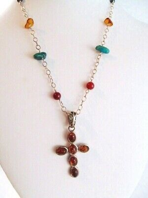 VINTAGE Signed Sterling Silver Real Honey Baltic Amber Cross on Multi-Gem Chain