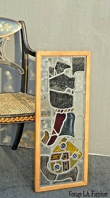 Vintage Medieval Stained Glass Art Wall Hanging Picture with Shield and Helmet