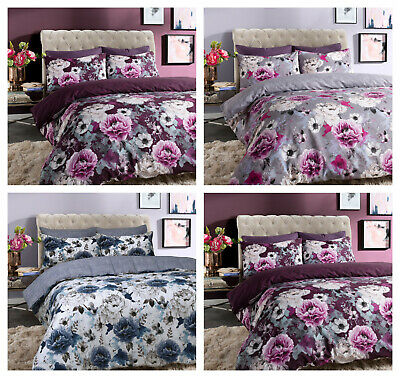 Inky Floral Reversible Duvet Quilt Cover Bedding Set All Size with Pillowcase(s)