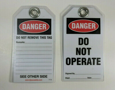 "25X Idesco T1-30 Lockout Tag Danger, Do Not Operate PVC Laminated 3/8"" Hole"