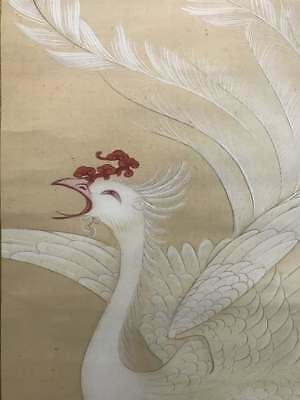 PHOENIX JAPANESE PAINTING Art HANGING SCROLL Japan Antique Ink VINTAGE c844