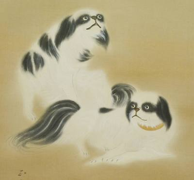 SUSIE DOG JAPANESE PAINTING HANGING SCROLL Antique Old JAPAN VINTAGE c674