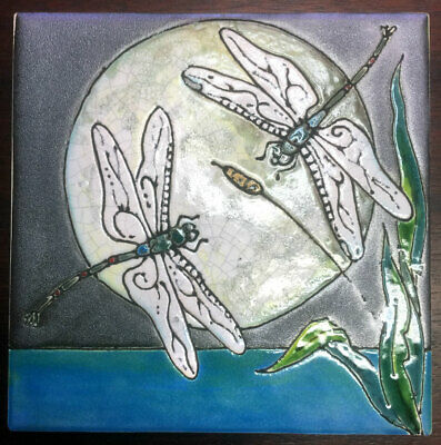 """Hand Painted Tile """" Dragonflies &  Full Moon """" 6""""x6"""" NEW by George"""