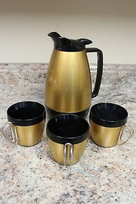 VINTAGE MID-CENTURY THERMO-SERV COFFEE PITCHER AND CUPS - GOLD BLACK 1960s