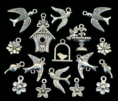 17pc Birds /& Flowers Charm Set Size 12mm to 28mm Antiqued Tibetan Silver