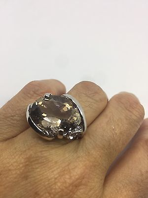 Vintage Genuine Brown Smoky Topaz 925 Sterling Silver Deco  Size 7.5 Ring