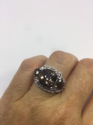 Vintage Genuine Brown Smoky Topaz 925 Sterling Silver Deco  Size 7.25  Ring