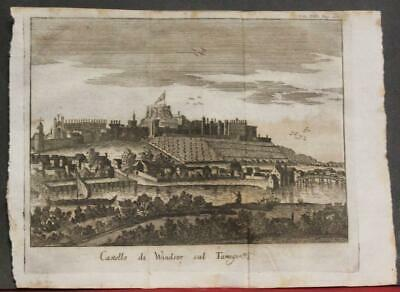 Windsor Castle England 1743 Thomas Salmon Unusual Antique Copper Engraved View