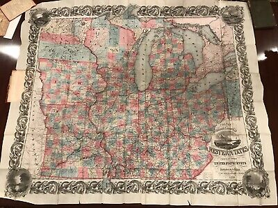 RARE 1853 J. H. Colton's Railroad & Township Map of Western States, HUGE