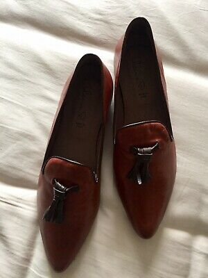 Brown All Leather Flats Made In Italy Brand New 8