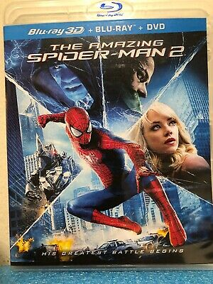 The Amazing Spider-Man 1  & 2 Blu-ray/2012, 3-Disc Set) Like New
