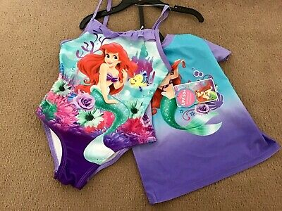 Disney The Little Mermaid Swimming Costume & Uv Sun Top Set,age 5 Yrs.brand New.
