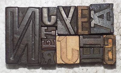 Type, Cuts & Printing Blocks Mix 12 Letterpress Letter Wood Type Printers Block Collection.vb-450 Printing & Graphic Arts