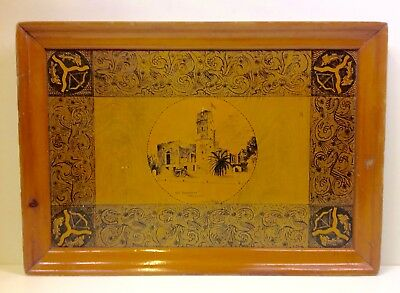 """Vintage Wooden Tray """"The Residency Lucknow"""" by Sydney Rahn 1939"""
