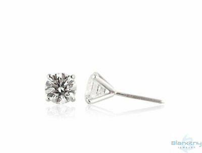 Solitaire Stud Earrings - 0.36 Ct Round Diamonds Color D SI1 14K White Gold