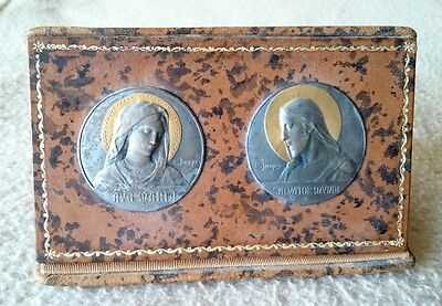 Antique French White Metal Gold Art Nouveau Plaques Christ Virgin Mary E.dropsy