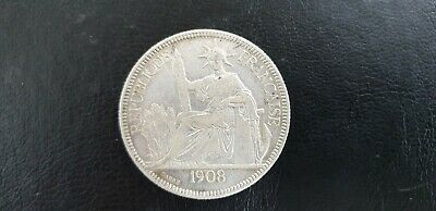 1908 Indo Chine Francaise French Piastre De Commerce .900 Silver Coin 26.94 gms