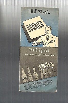 1937 Collectible HTF HOW TO USE RONRICO RUM Cocktail Recipe Pamphlet