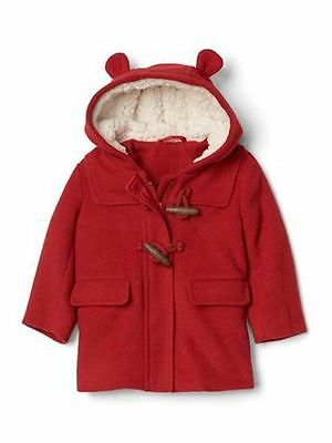 NWT Baby Gap Girls 18-24 MONTHS Red Bear Toggle Duffle Coat