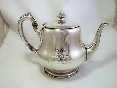 Large Old French Silver Plated Tea Pot By Halphen 1880's